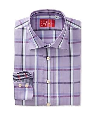Rufus Men's Button Down Plaid Shirt (Purple)