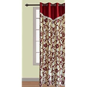 Handloomwala Contrast Patch With Maroon And Cream Curtain (Multicolor)