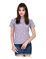 Yepme Women's Blue & Red Cotton Tops YPMTOPS0541_XS
