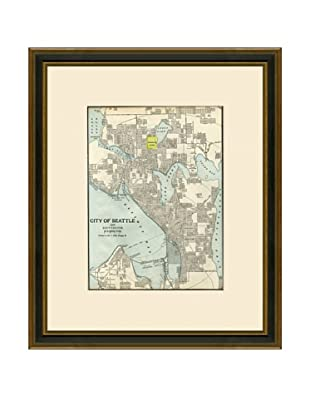 Antique Lithographic Map of Seattle, 1883-1903