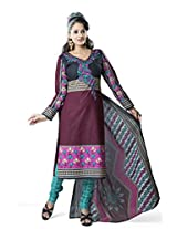 Rajnandini Women's Maroon & black colour pure cotton Printed Unstitched salwar suit Dress Material (Free Size)
