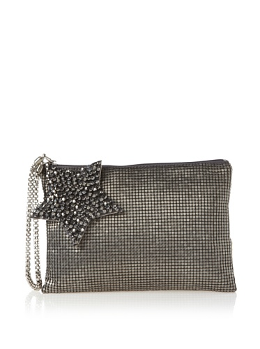 Felix Rey Women's Superstar Mesh Clutch with Wristlet, Antique Silver