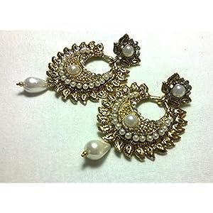 Pearl drop antique polki earrings