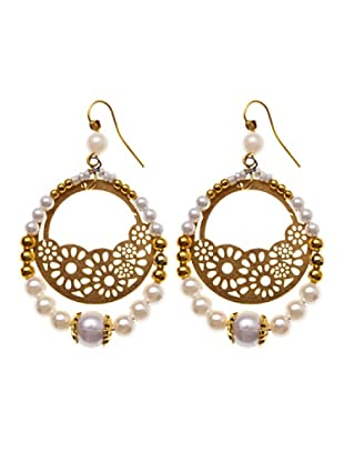 Sigris Pendientes Perlas Aro Doble (Dorado)