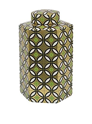 Three Hands Large Ceramic Jar, Gold Geometric