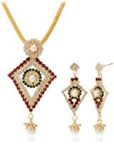 Aakhi Red-Green Pearl Princess Diamante Jewellery Set for Women (AKS_ST_PPDRG)