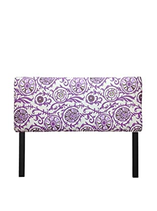 Sole Designs Upholstered Suzani Headboard (White/Purple)