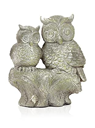 Urban Trends Collection Fiberstone Owl and Owlet on Tree Stump