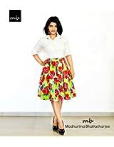 Madhurima Bhattacharjee Bright Pleated Floral Midi Skirt