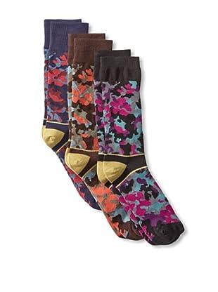Florsheim by Duckie Brown Men's Floral Camo Socks (3 Pairs) (Black/Navy/Brown)