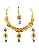 Curved Red, Green & White Stone & Gold Plated Necklace Earring & Tikka Ethnic Fashion Jewellery Set