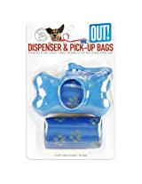 OUT! Blue Bone Dispenser with Waste Pick-Up Bags, Color May Vary