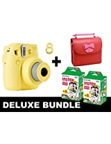 Fujifilm Instax Mini 8 - Yellow + 40 Pack Instax Film + Butterfly Red Gm Bag + Yellow Selfie Mirror