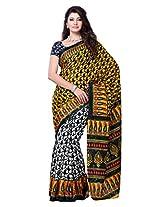 Diva Fashion-Surat Women's Art silk printed yellow & Black saree-DFS381D