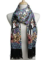 Ed Hardy Womens Panther Knit Scarf -Green/Purple