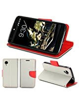 GMYLE PU Leather Magnetic Protective Flip Folio Slim Wallet Purse Stand Case Cover for Google LG Nexus 5 - Grey and Red