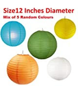 Round Paper Lamps / Lanterns - Mixed Colours- set of 5