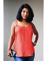Madhurima Bhattacharjee Red Printed Spaghetti Top