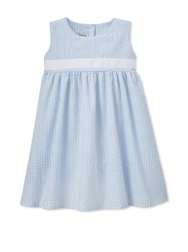 Noa Lily Girl's Empire Seersucker with White Ribbon Dress (Light Blue)