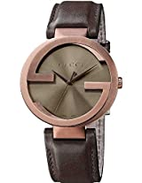 Gucci Interlocking Brown Leather Ladies Watch Ya133207