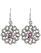 Haat4Art .925 Silver Flower with Amethyst Earrings for Women