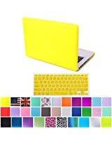 "HDE MacBook Pro 13"" Non-Retina Case Hard Shell Cover Rubberized Soft-Touch Plastic + Keyboard Skin - Fits Model A1278 (Yellow)"