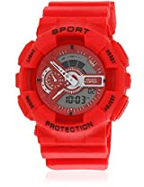 Fs208-Rd01 Red/Red Analog & Digital Watch