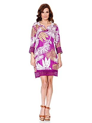 Cortefiel Vestido Crochet (Fucsia)