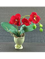Artifical Flower With Ceramic Pot - Red - Cream