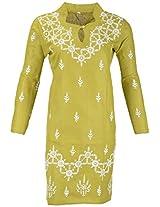 PR Chikans Women's Poly Cotton Kurti (Green, X-Large)
