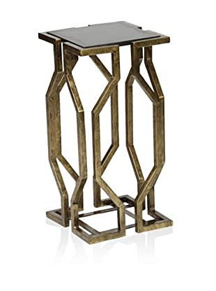 Prima Design Source Open Geometric Form Accent Table, Brass