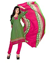 Kanheyas Cotton Unstitched Dress Material with Chiffon Dupatta
