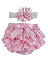 Stephan Baby Pink and White Satin Ruffled Diaper Cover and Curly Bow Headband, 12-18 Months