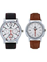 IIK Collection Combo of Men's Analog Watches, Round White Dial with Black Strap & Round White Dial With Brown Leather Strap IIk-0501M-508M