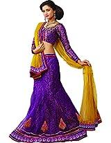 Melluha Women's Net Lehenga Choli(ml-0050_Multi_Free Size)