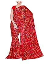 Rajlaxmi Women's Georgette Saree (Red)