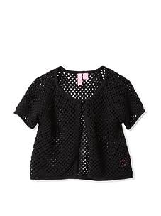 Hype Girls Crochet Sweater Knit Shrug (Black)