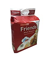 Friends Adult Diapers Premium PLUS+ 10's MEDIUM, Waist Size 28 to 44 inches