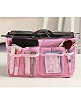 1PC Multifunctional Small Handbag Travel Storage Bag Cosmetic Bag & Case Toiletry Bag Cosmetic Organizer Storage Bag Pouch Pocket(Colour: (Pink)
