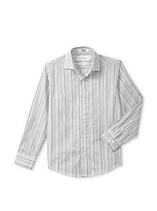 Calvin Klein Boy's 8-20 Long Sleeve Multi-Tex Stripe (White)