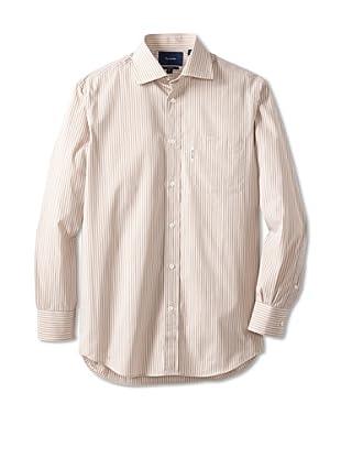 Façonnable Men's Stripe Classic Spread Collar Dress Shirt (Beige)