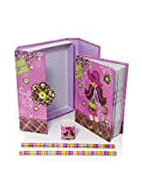 Mousehouse Gifts Pink Trendy Girl Boxed Notebook Gift Set With Matching Pencils & Eraser - Small Siz