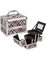 Aluminum Small Pink Checked Makeup Box Kit - Travel Cosmetic Train Case Organizer With 2 Pull Out Dr...