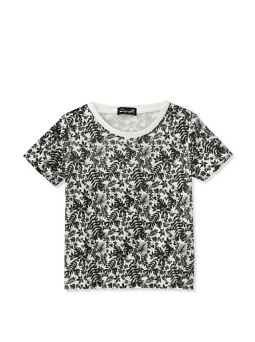 A for Apple Rat T-Shirt with Leaves Print (White)