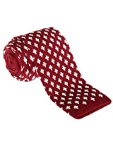 "Retreez Casual Houndstooth Shape Pattern Men's 2.4"" Skinny Knit Tie - Burgundy with White"