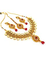Megh Craft Women's One Gram Gold Plated Indian Kundan Bridal Jewellery