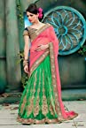 Net and Georgette Lehenga Saree In Green and Pink Colour 5855