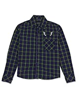 Single Pocketed Full Sleeve Boys Check Shirt Indigo