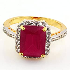 SUPERSHINE ENCHANTING GOLD PLATED RING FASHION JEWELRY WITH RED LOOK RUBY STONE & AMERICAN DIAMONDS 11248