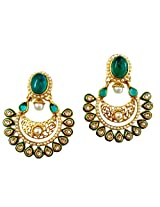 Lalso Gold-Plated Dangle & Drop Earring For Women Green - LFER012